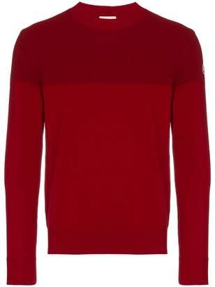 Moncler red tricot stripe virgin wool jumper