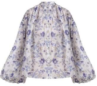 Thierry Colson Slava Floral Print Cotton Blouse - Womens - Blue White