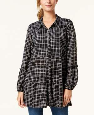 Style&Co. Style & Co Button-Down Printed Peplum Top, Created for Macy's