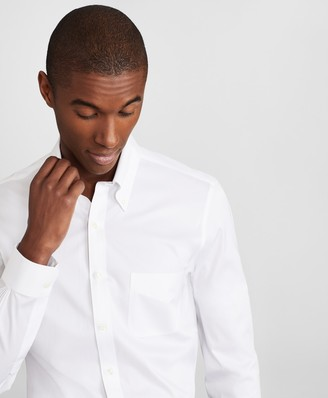 Brooks Brothers Milano Slim Fit Dress Shirt, Performance Non-Iron with COOLMAX, Button-Down Collar Twill