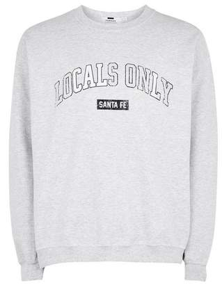 Topman Mens Frost Grey Printed Sweatshirt