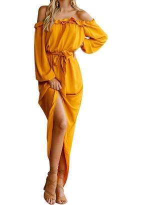 OMZIN Women Maxi Dress Short Sleeves Dress Removable Waist Belt Light Grey,S
