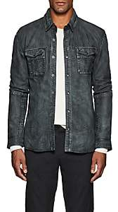 John Varvatos Men's Leather Shirt Jacket - Gray