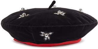 My Bob Jewelled appliqué velvet beret