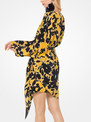 Michael Kors Floral Crepe de Chine Shift Dress with Pareo