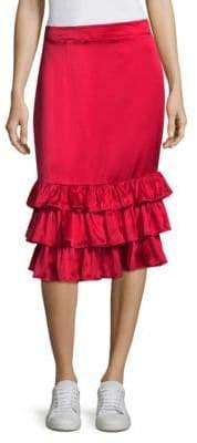 M·A·C Billi Mac Silk Ruffle-Hem Skirt