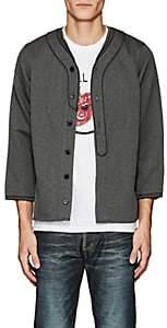 Visvim Men's Wool-Linen V-Neck Shirt-Dark Gray