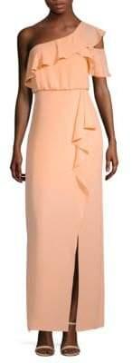 BCBGMAXAZRIA Ruffle One-Shoulder Gown