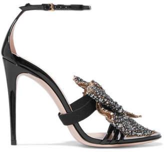 Gucci Embellished Patent-leather Sandals - Black