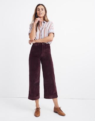 Madewell Tall Emmett Wide-Leg Crop Pants in Velveteen