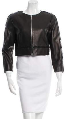 Prabal Gurung Cropped Leather Jacket