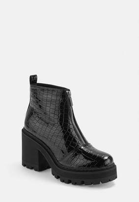 Missguided Black Wide Fit Croc Texture Chunky Heeled Ankle Boots