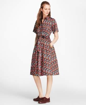 "Brooks Brothers B""-Print Cotton Shirt Dress"