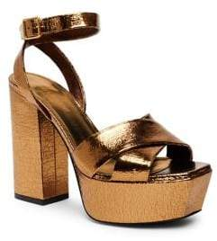 Saint Laurent Farrah Metallic Leather Platform Ankle-Strap Sandals