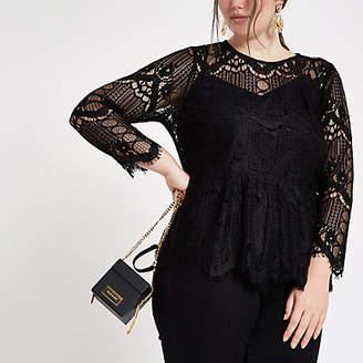 River Island Womens Plus Black long sleeve lace top