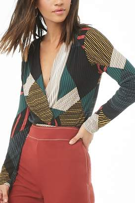 Forever 21 Abstract Striped Geo Print Surplice Top
