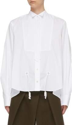 Sacai Drawcord waist zip back yoke boxy bib shirt