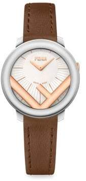 Fendi Run Away Stainless Steel& Leather Watch