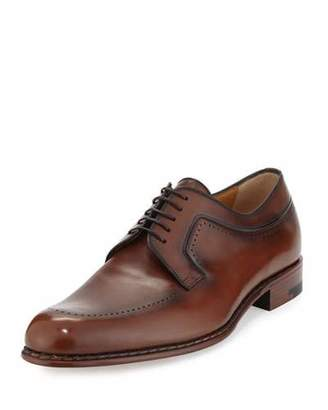 a.testoni Black Label Washed Leather Derby, Brown $875 thestylecure.com