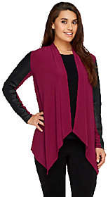 Joan Rivers Classics Collection Joan Rivers Luxe Knit Draped Cardigan w/FauxLeather Sleeves