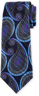 Ermenegildo Zegna Paisley Metallic Jacquard Tie, Navy $195 thestylecure.com