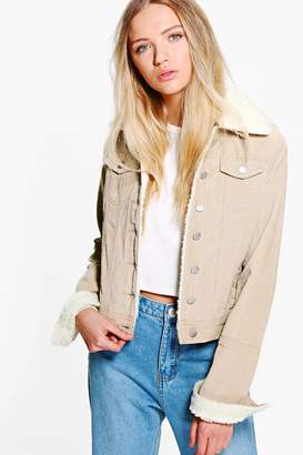 boohoo Slim Fit Borg Collar Cord Jacket