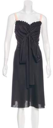 David Szeto Wool Silk-Trimmed Dress