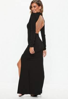 Missguided Black Long Sleeve Open Back Maxi Dress
