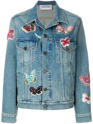 Valentino embroidered butterfly denim jacket