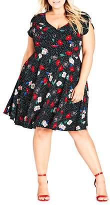 City Chic Floral Spot Dress (Plus Size)
