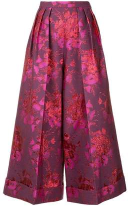 DELPOZO floral embroidered cropped trousers
