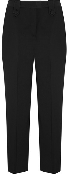 Prada - Cropped Stretch-wool Straight-leg Pants - Black
