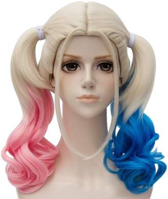 styling/ XONOR Harley Quinn Cosplay Wig Suicide Squad Halloween Party Costume Wig with Ponytails