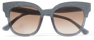 Jimmy Choo Cat-eye Glittered Acetate Sunglasses - Gray