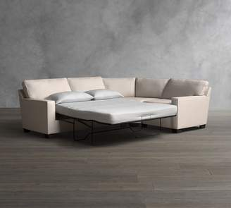 Pottery Barn Buchanan Square Arm 3-Piece Wedge Upholstered Sleeper Sectional with Memory Foam Mattress