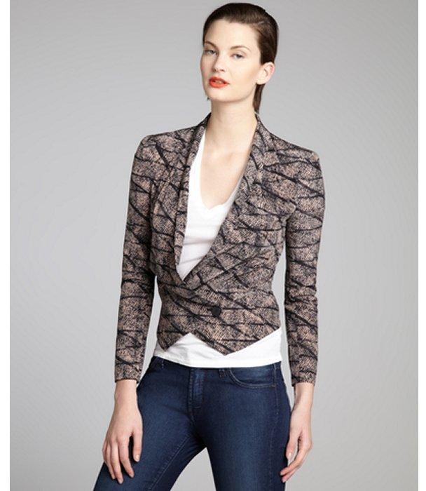 Rebecca Minkoff peach and black printed silk single button 'Becky' jacket