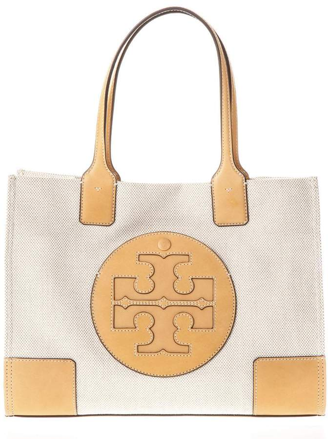 Tory Burch Ella Natural Canvas & Leather Tote - NATURAL/IVORY - STYLE