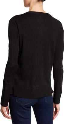 Neiman Marcus Faux-Fur Zip-Up Cardigan