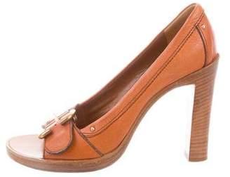Chloé Leather Peep-Toe Pumps