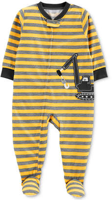 Carter's Baby Boys Striped Construction Vehicle Footed Pajamas
