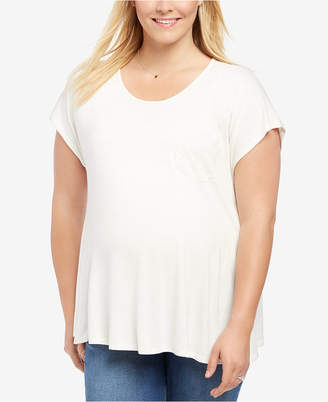 Motherhood Maternity Plus Size Lace-Trim T-Shirt