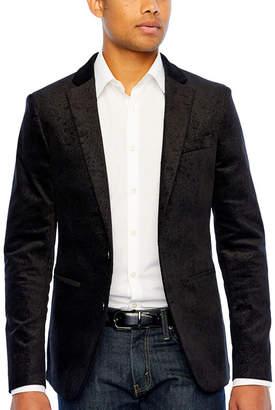 Jf J.Ferrar Super Slim Fit Velvet Paisley Sport Coat