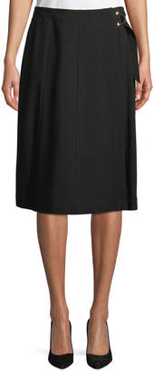 Iconic American Designer A-Line Wrap-Front Crepe Skirt w/ Buckle Detail