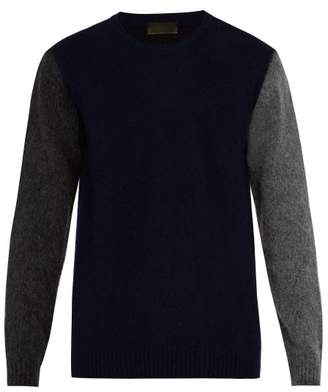 Altea - Colour Block Wool Blend Sweater - Mens - Navy