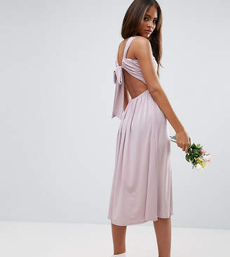 Asos Tall TALL Wedding V Front Ruched Midi Dress