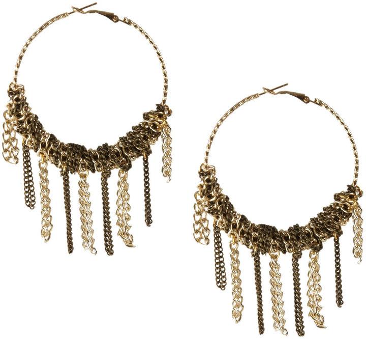 Chain Wrap Fringe Hoop Earrings