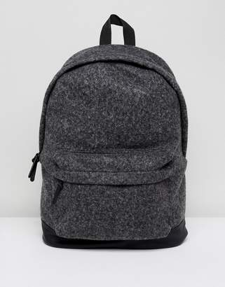 Asos Backpack In Charcoal Melton With Faux Leather Base