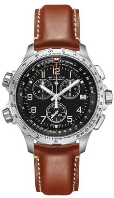 Hamilton Khaki X-Wind Chronograph Leather Strap Watch, 46mm