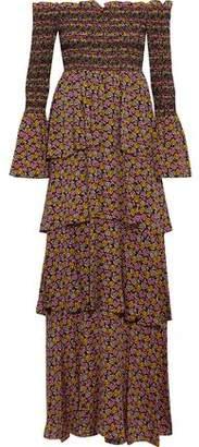 A.L.C. Amalia Off-The-Shoulder Floral-Print Silk-Crepe Maxi Dress