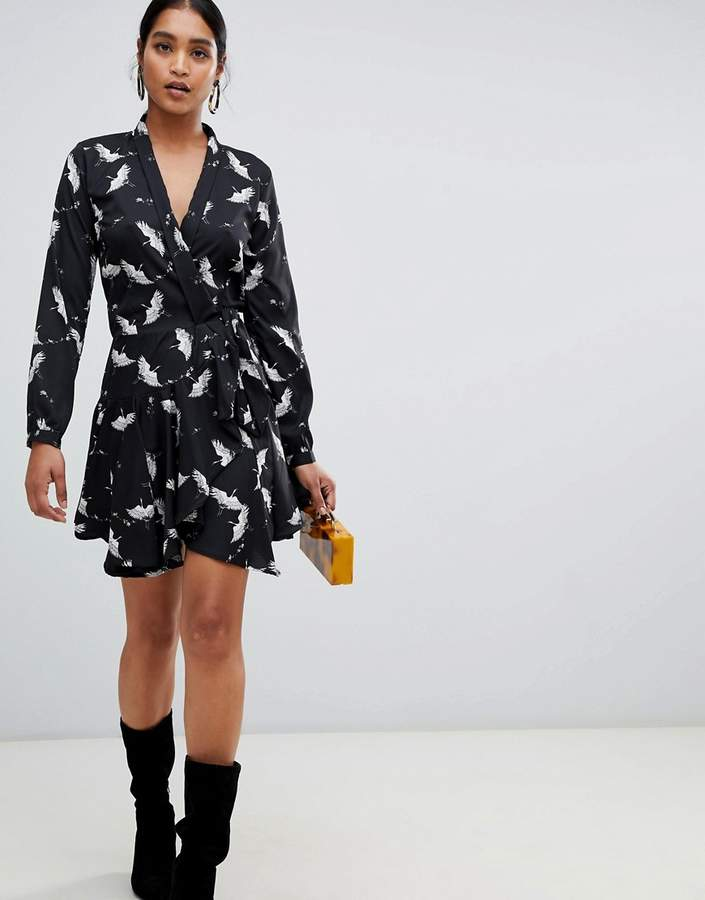Liquorish bird print long sleeve wrap dress